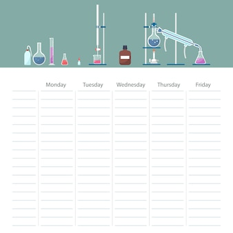 School timetable card with chemistry course theme