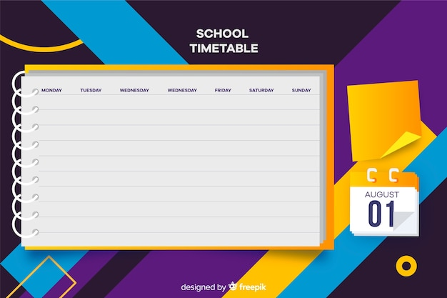 School timetable for children, weekly planner