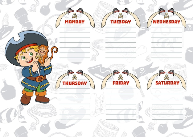 School timetable for children with days of week. color cartoon pirate with a monkey