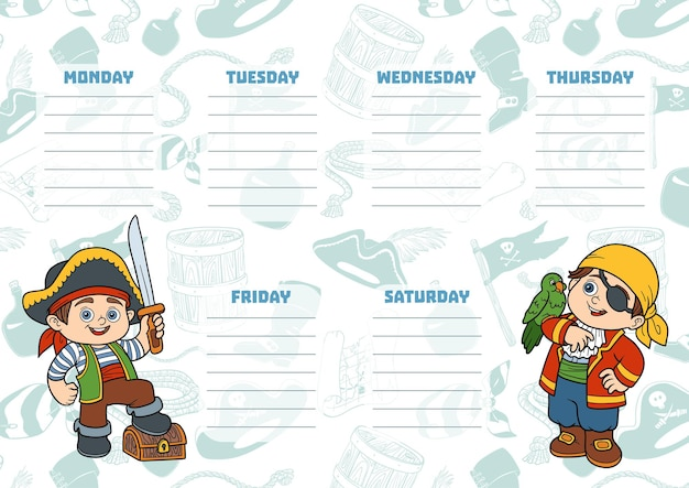 School timetable for children with days of week. color characters of cartoon pirates