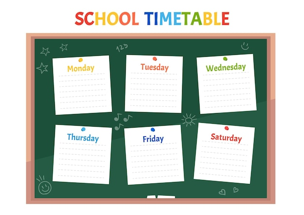 School timetable class schedule on green classroom chalkboard with sticker notes for all subjects