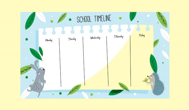 School timetable cute