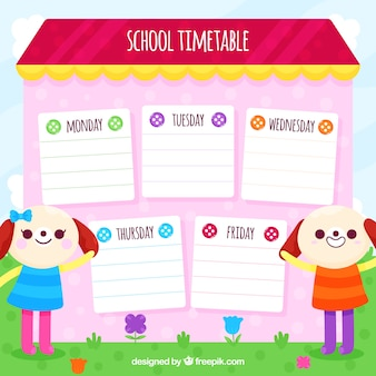 School timetable design with cute dogs