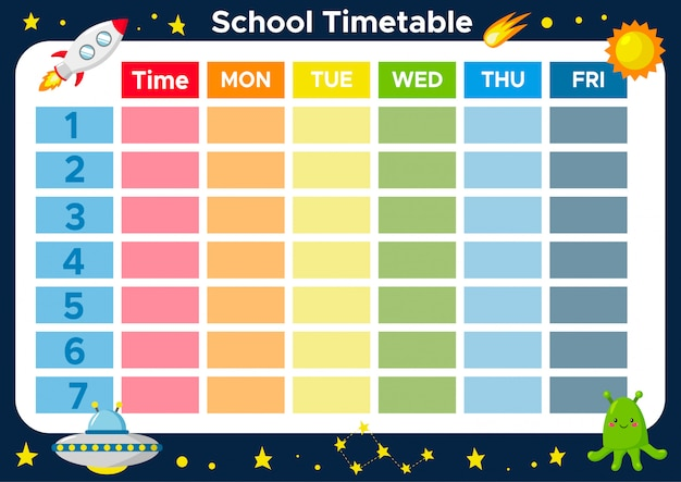 School timetable for elementary school