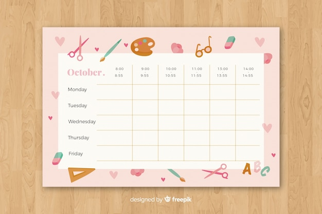 School timetable in flat style