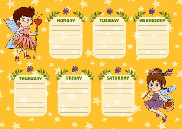 요일이 있는 어린이를 위한 학교 시간표. 만화 요정의 컬러 캐릭터