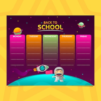 School timetable in gradient style with astronaut