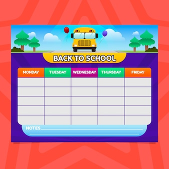School timetable in gradient style with bus