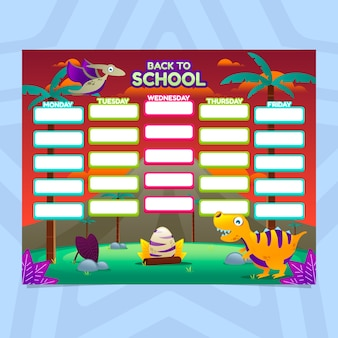 School timetable in gradient style with dinosaurs