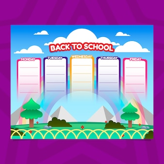 School timetable in gradient style with landscape