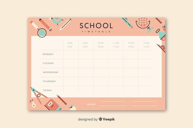 Школьное расписание в плоском стиле