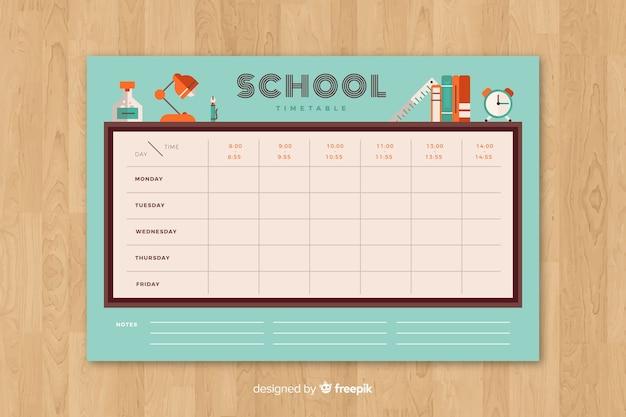 플랫 스타일의 학교 시간표