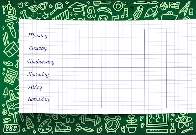 School timetable of lesson schedule template on checkered sheet. weekly lesson plans on green chalkboard.