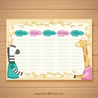 School timetable to organize with cute animals