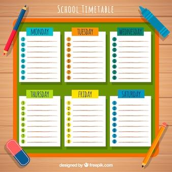 学校の時刻表、鉛筆、ゴム