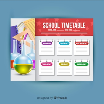 Шаблон реалистичного стиля школьного расписания