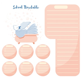 School timetable schedule back to school cute bird with bath bubbles.
