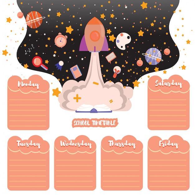 Расписание школы обратно в школу. космический фон со звездами и школьными предметами