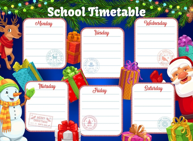School timetable or schedule, christmas background