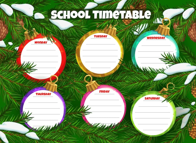 School timetable or schedule, christmas tree balls