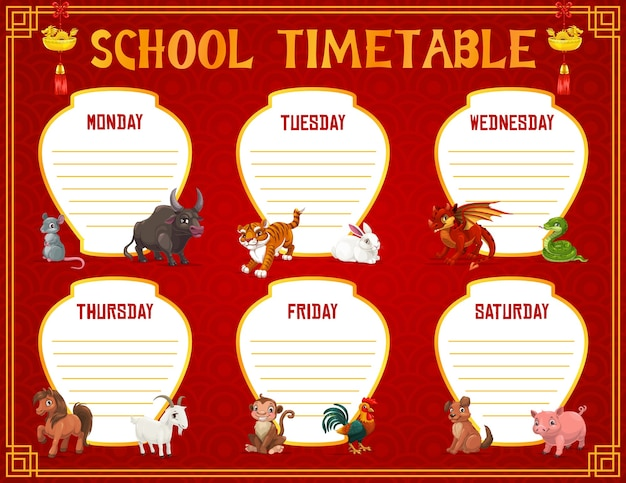 School timetable or schedule education template with animals of chinese zodiac. student time table, weekly study plan or planner with pupil lesson chart layouts, horoscope animals, gold dragons