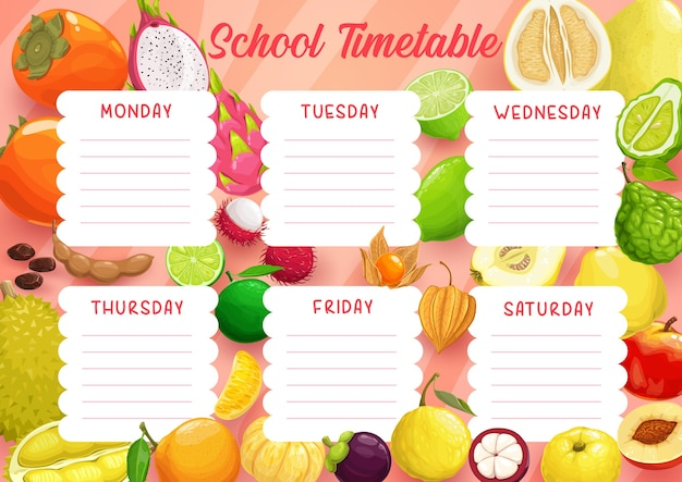 School timetable schedule template of education study planner with frame