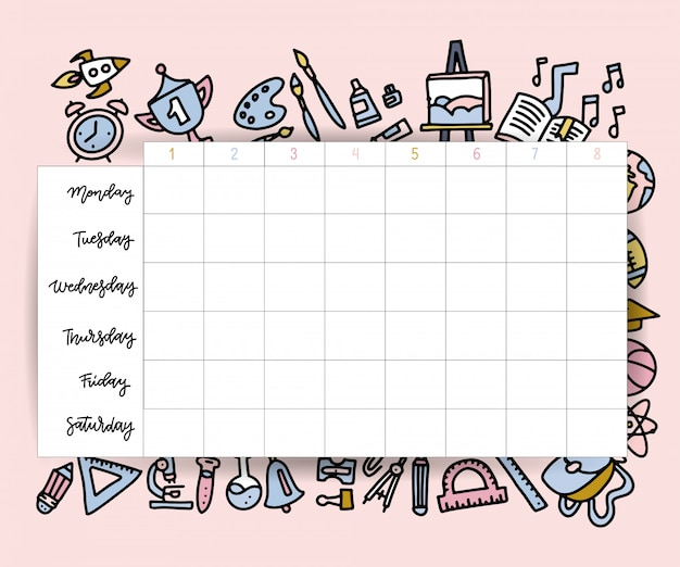 School timetable schedule template. student lesson chart plan or weekly study planner with school supplies