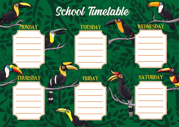 School timetable or schedule template with toucans