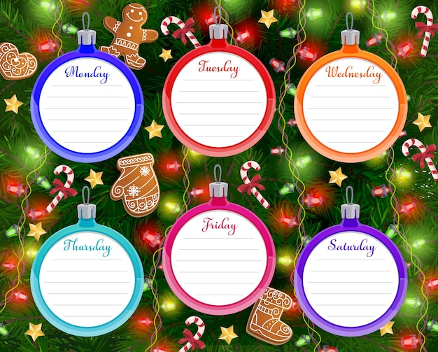 School timetable and schedule with christmas tree