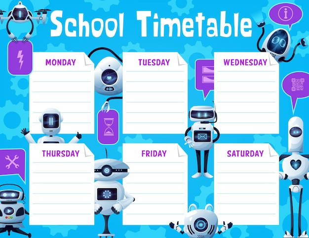 School timetable schedule with robots and drones