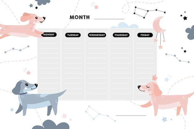 Школьное расписание школьные уроки милый детский плакат с собаками