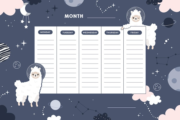 Школьное расписание школьные уроки милый детский плакат с ламами