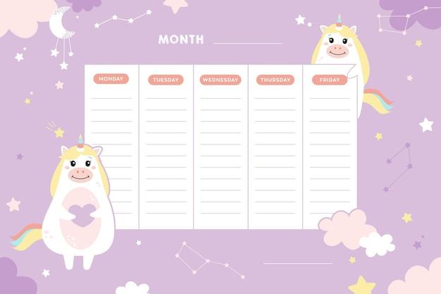 Школьное расписание школьные уроки милый детский плакат с единорогами