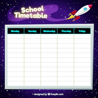 School timetable in the space