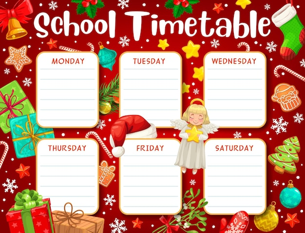 School timetable or student education schedule on vector background of cartoon christmas gifts. weekly time table, planner and study plan of preschool pupil lessons or classes with xmas present boxes