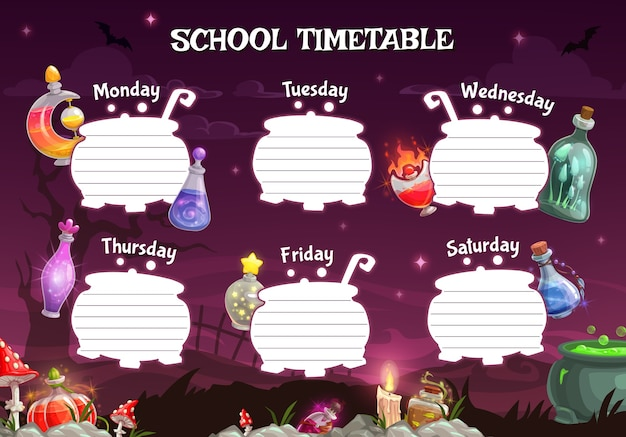 School timetable or student schedule template of children education planner