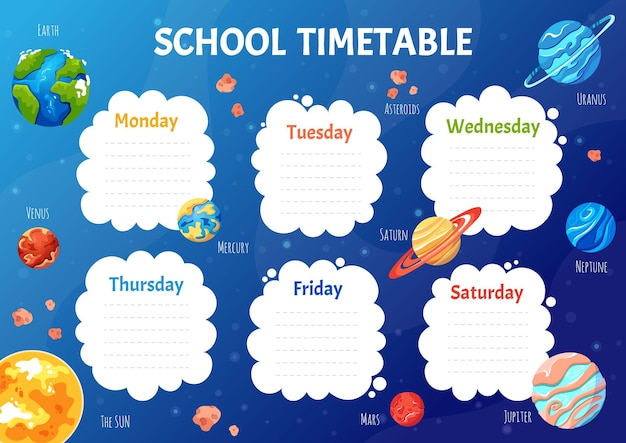 School timetable for students or pupils with solar system planets schedule template with space