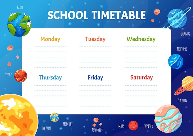 School timetable for students or pupils with solar system planets