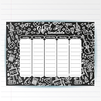 School timetable template on chalk board with hand written chalk text and adventure sea symbols. weekly lessons schedule in sketchy style