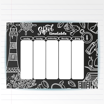 School timetable template on chalk board with hand written chalk text and adventure sea symbols. weekly lessons shedule