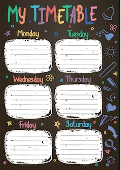 School timetable template on chalk board  with hand written colored chalk text. weekly lessons shedule in sketchy style decorated with hand drawn school doodles on blackbord.