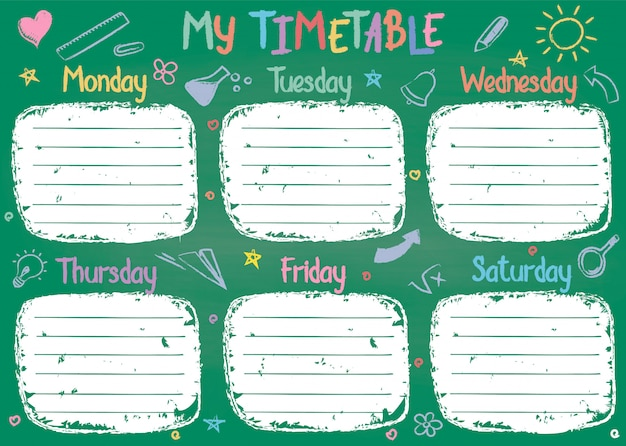School timetable template on chalk board with hand written colored chalk text.