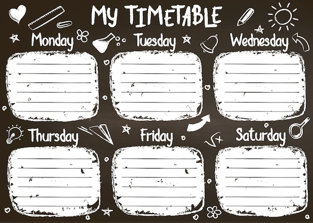 School timetable template on chalk board