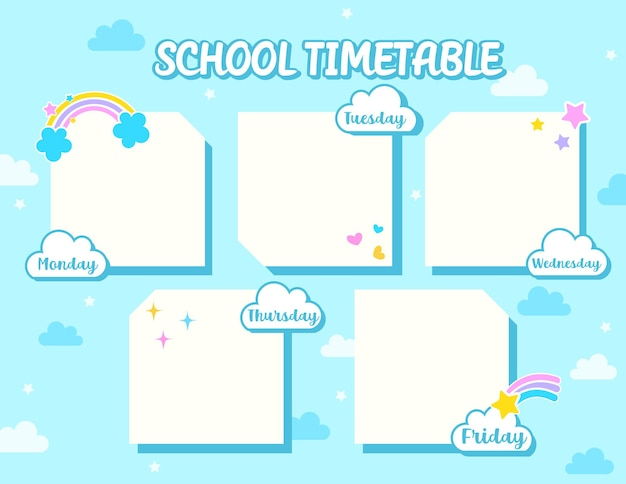 School timetable template design with blue sky and cloud background.