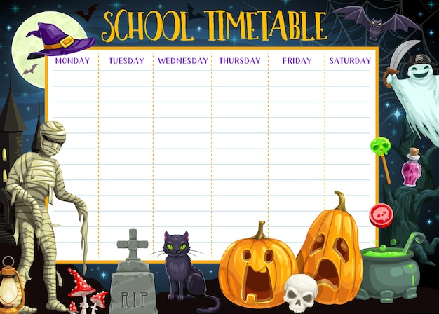 School timetable template of education schedule