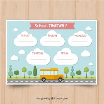 Шаблон школьного расписания в плоском стиле