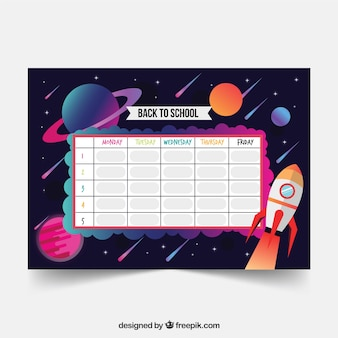 School timetable template in flat style