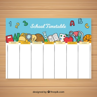 School timetable template in hand drawn style