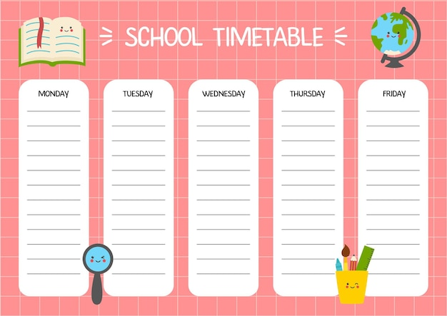 School timetable template for kids. weekly planner schedule with cute school supplies on pink background.