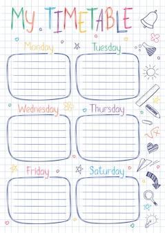 Шаблон школьного расписания на листе экземпляра книги с рукописным текстом. еженедельный график занятий в стиле отрывок, украшенный рисованными школьными рисунками.